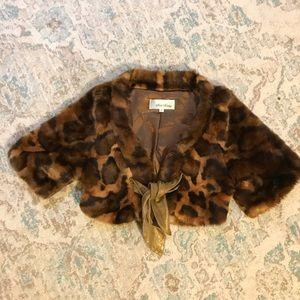 BETH BOWLEY faux fur coat/jacket, leather tie